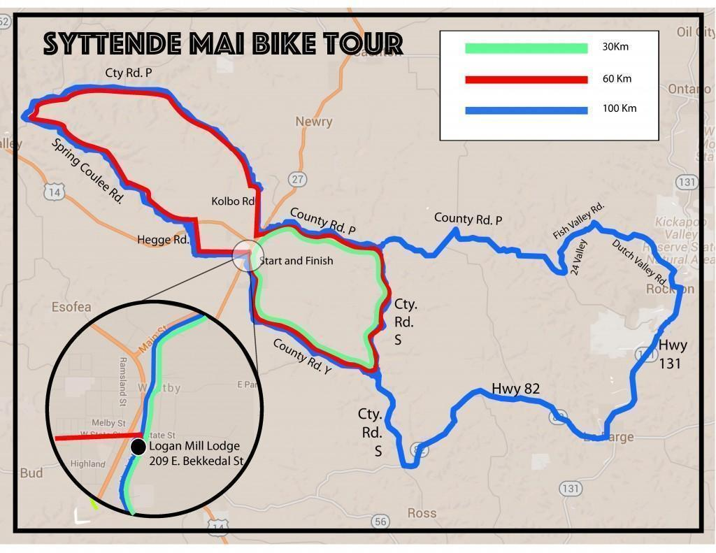 Syttende Mai Bike Tour Map